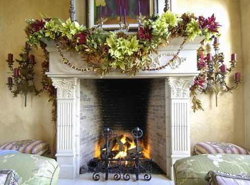Christmas Designer Fl Garland Standout Fireplaces Colonial To Clical