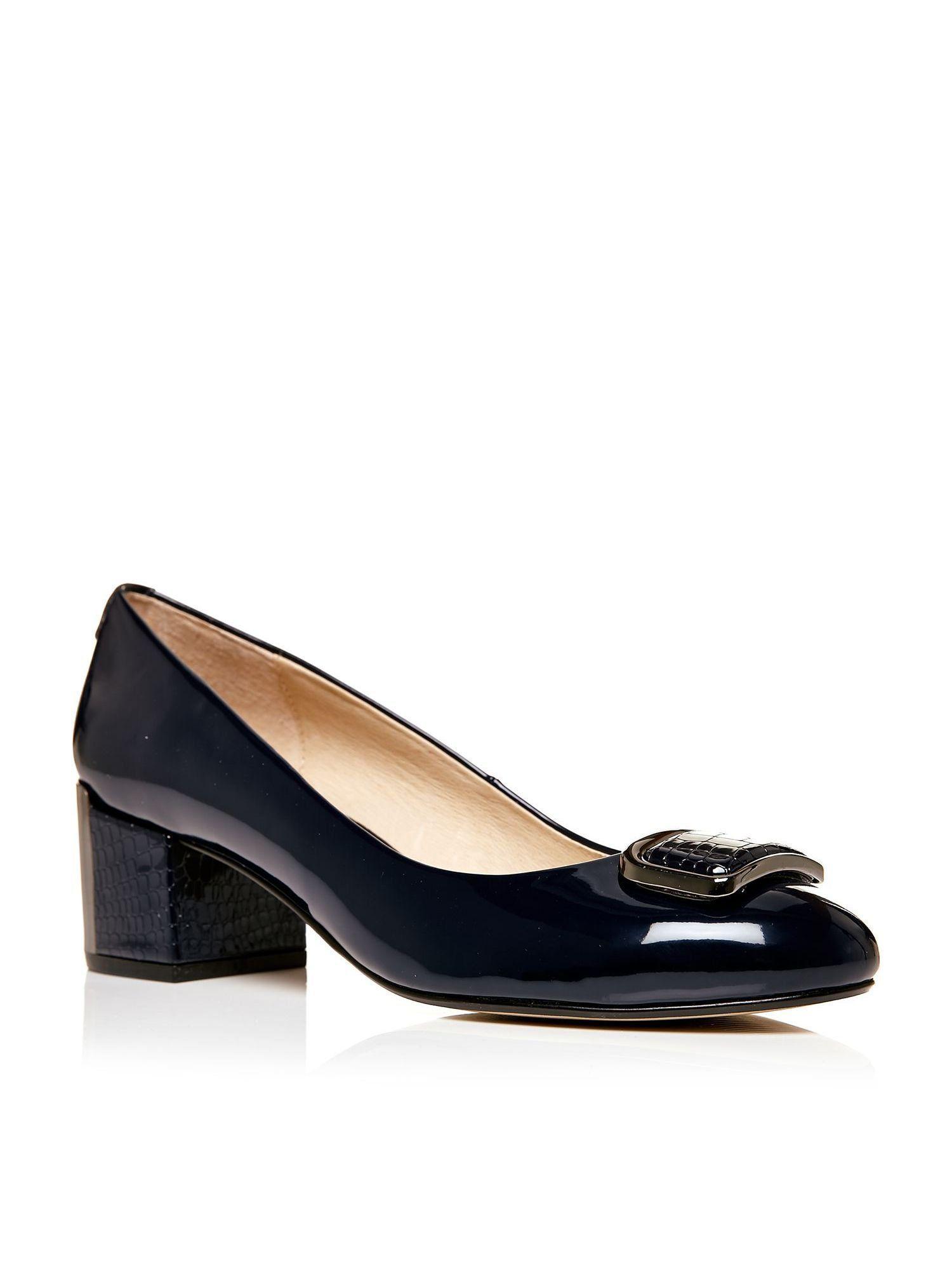 Moda in Pelle Camissa mid block heel court shoes, Navy