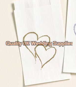 50 Pack Take Home Wedding Cake Bags Gold Hearts Grease Proof Bag Paper