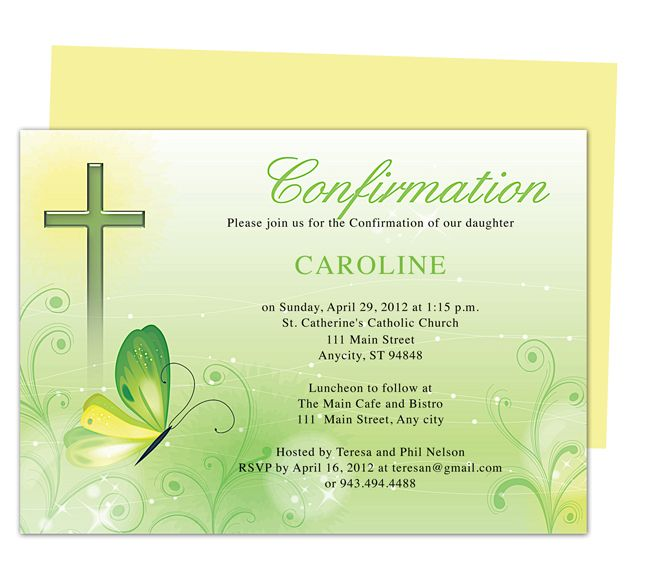 Greens Catholic Confirmation Invitation Templates Use with Word - invite templates for word
