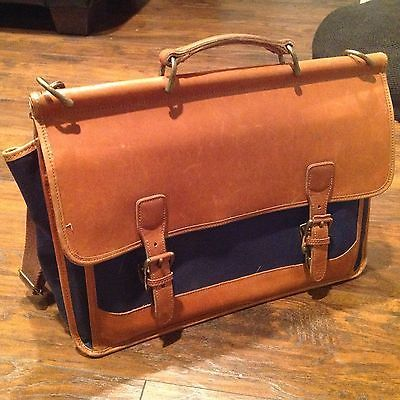 Vintage LANDS END Square Rigger Canvas   Leather Briefcase Computer ... 9ff3da0567678