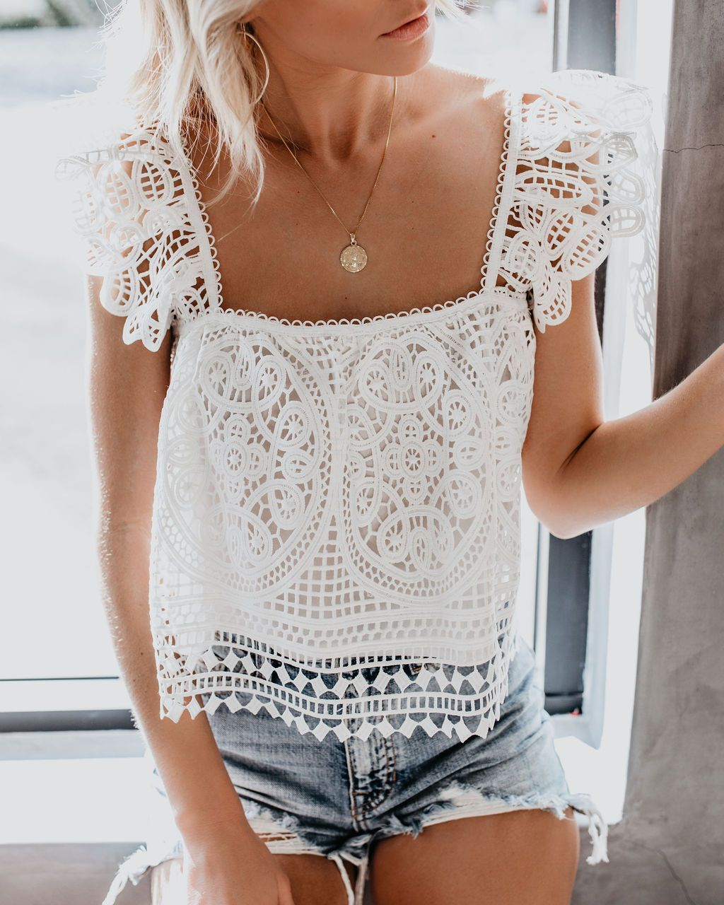At Last Crochet Lace Crop Top White In 2020 Casual Lace Top Crop Top Outfits Lace Crop Tops