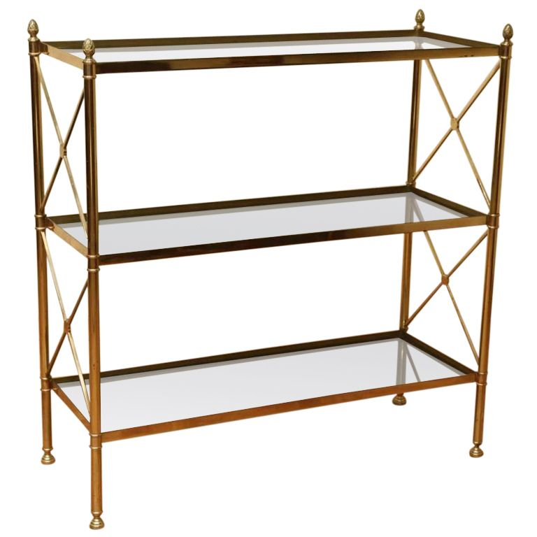 A Vintage Hollywood Regency Metal And Glass Etagere Bookcase With