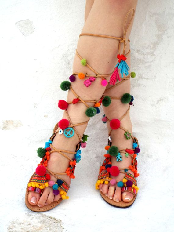 c408720a369ae Greek lace up Sandals, Pom Pom Leather Sandals,