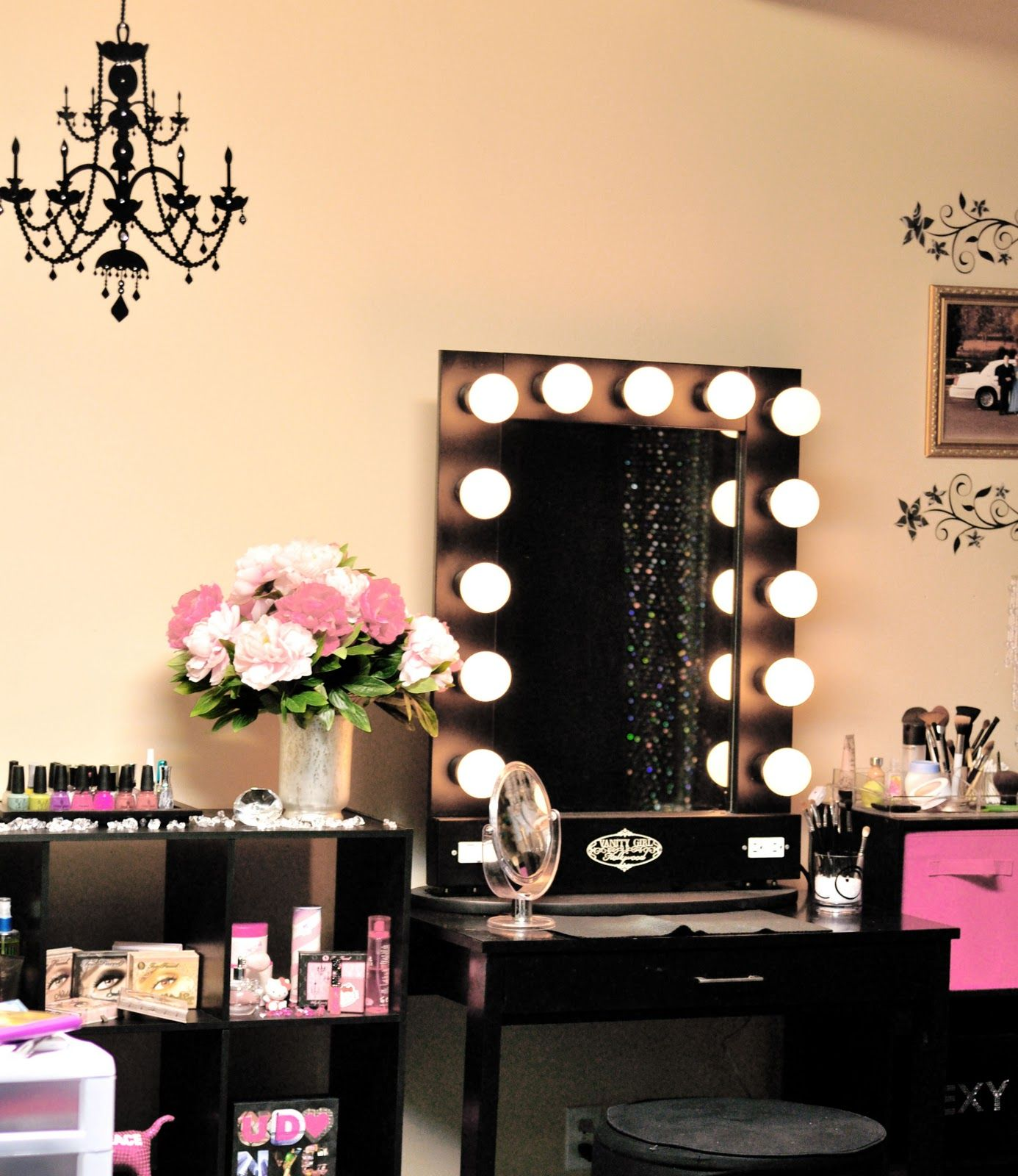 Exquisite Antique Chandelier Over Black Makeup Vanity With Square - Mirror on a stand vanity