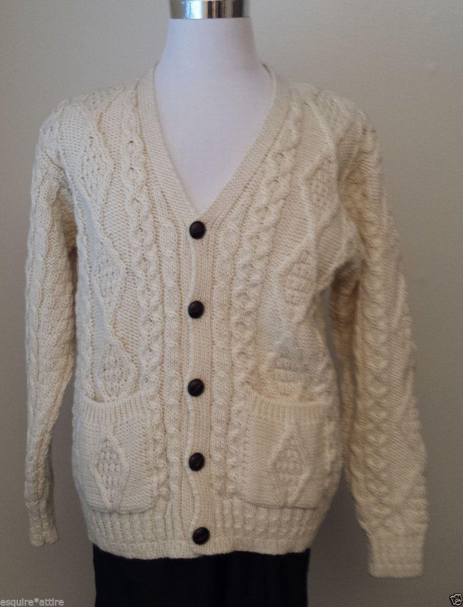 Men's Wool Irish White Cardigan Size M Knit Sweater NWT Made in ...