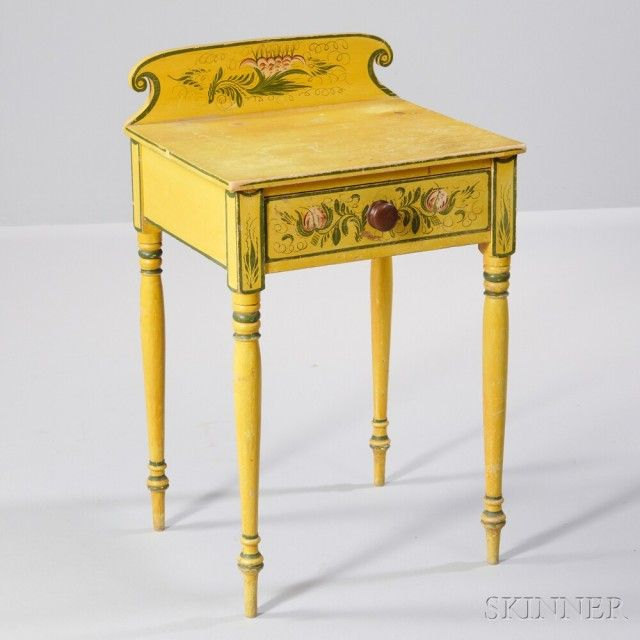Yellow Paint-decorated One-drawer Stand, Probably Maine, C