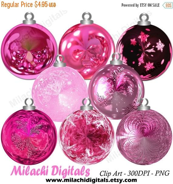2020 Christmas Commerical Art Trend Christmas pink ornaments clipartholiday ornaments clipart   Etsy