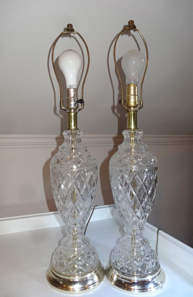 Vtg Pair Lead Crystal Table Lamps Germany Diamond Cut Glass Light