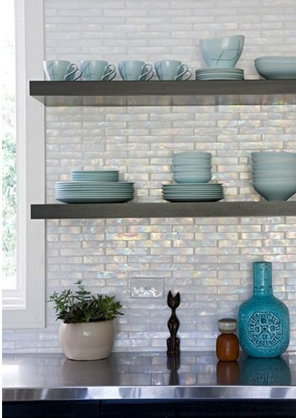 Iridescent Backsplash Ebony Cabinets Floating Shelves