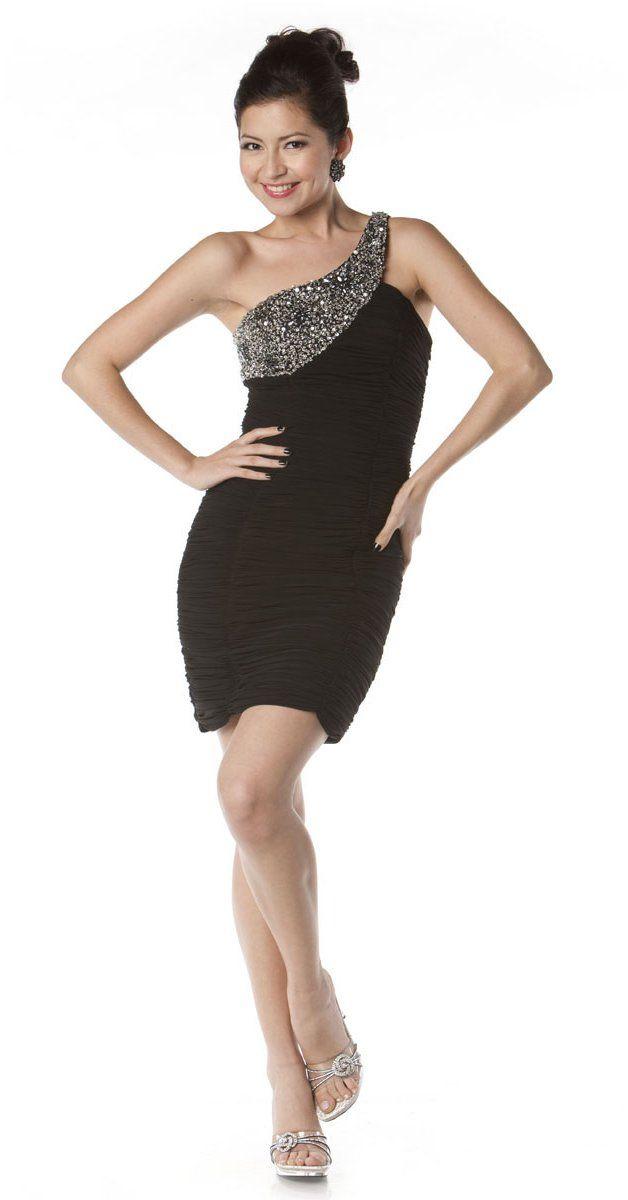 Asymmetrical One Shoulder Sparkly Short Black Cocktail Dress Sexy $147.99