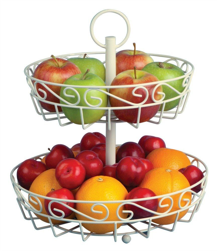 Cream 2-tier fruit basket stand | 2 Tier Fruit Basket | Pinterest