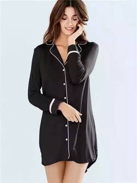 725116b124 Soft  sexy 100%  cotton long-sleeved casual  sleep shirts for women  nightgowns ladies nightshirts