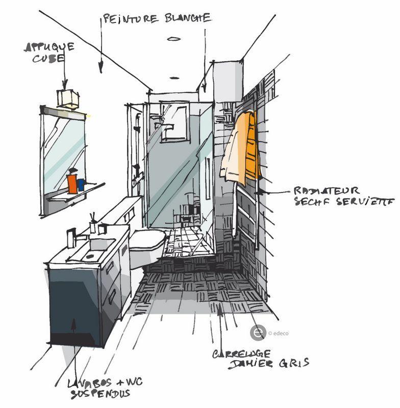 Salle de bain mosa que croquis architecture int rieure for Croquis de salle de bain