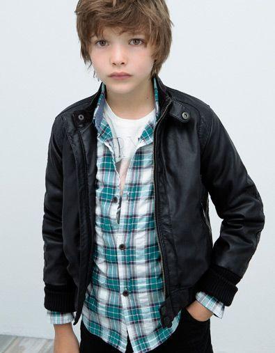 faux leather jacket with herringbone lining - Coats - Boy (2-14 ...