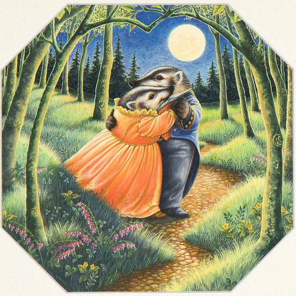 Badgers Print featuring the painting Dancing In The Moonlight by Lynn Bywaters