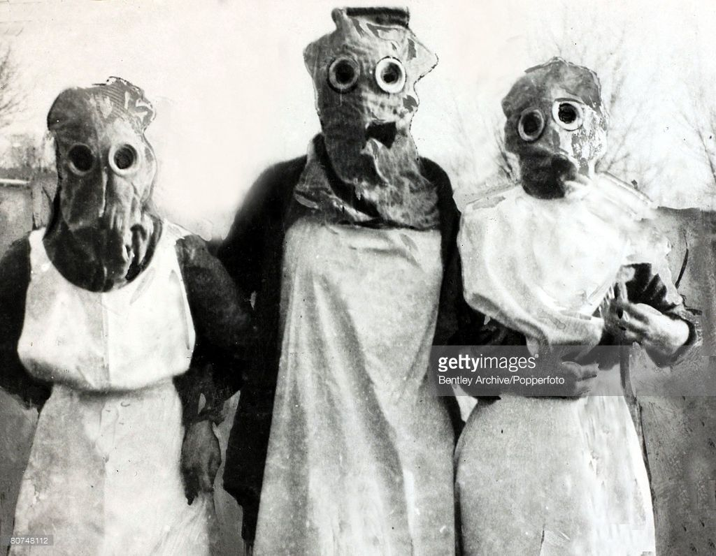 Laila and some other nurses wearing the gas masks they were given ...