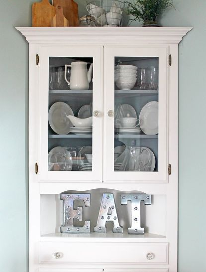 farmhouse style corner hutch makeover painted furniture More & Farmhouse Style Corner Hutch Makeover | Corner hutch | Pinterest ...
