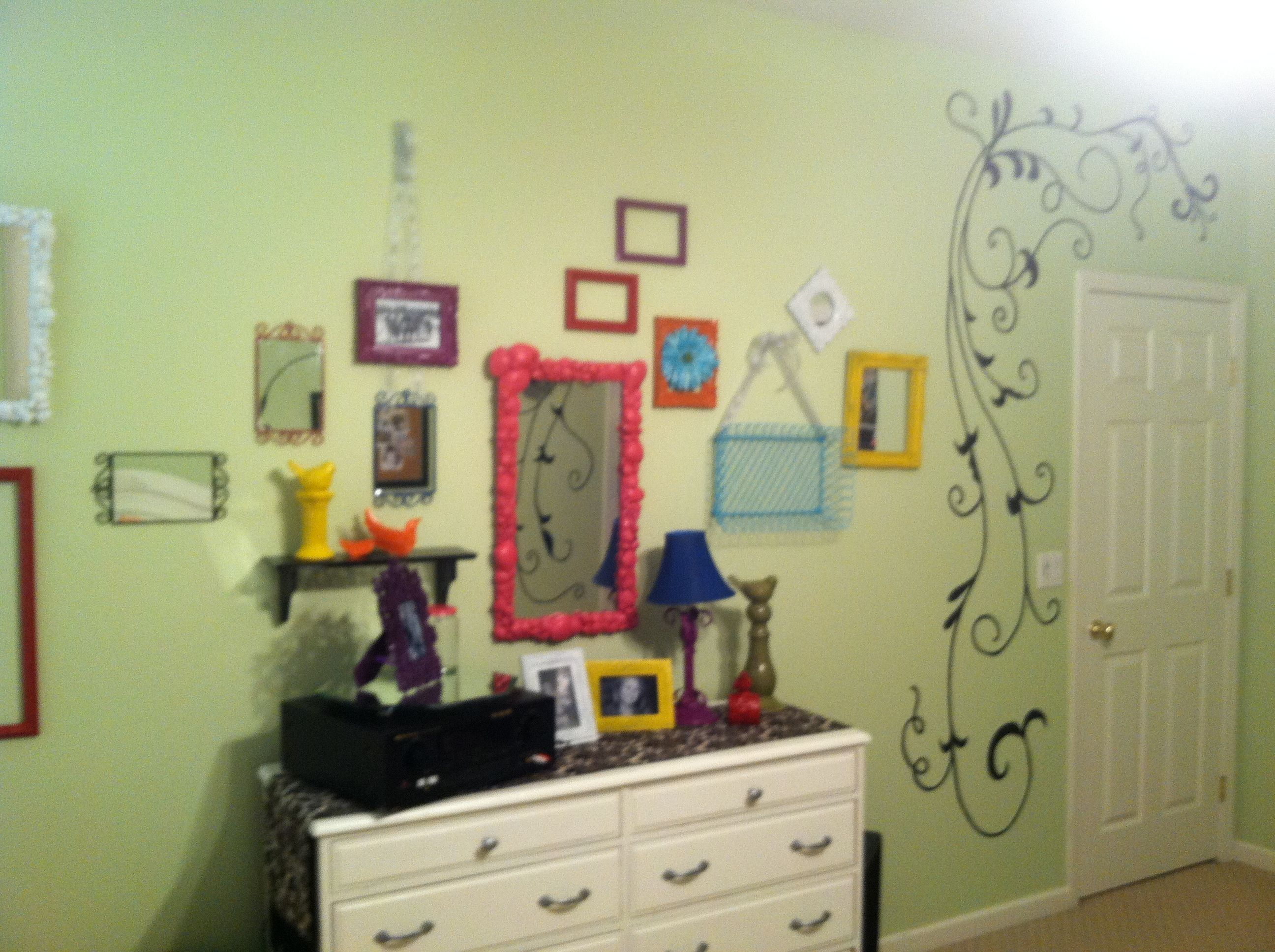 Old frames and mirrors spray painted bright colors. Easy room redo ...