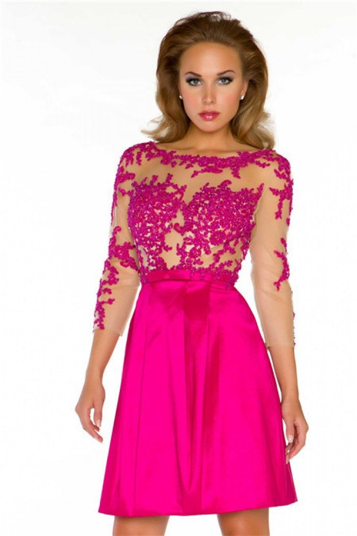 Neon Pink Lace Prom Dresses