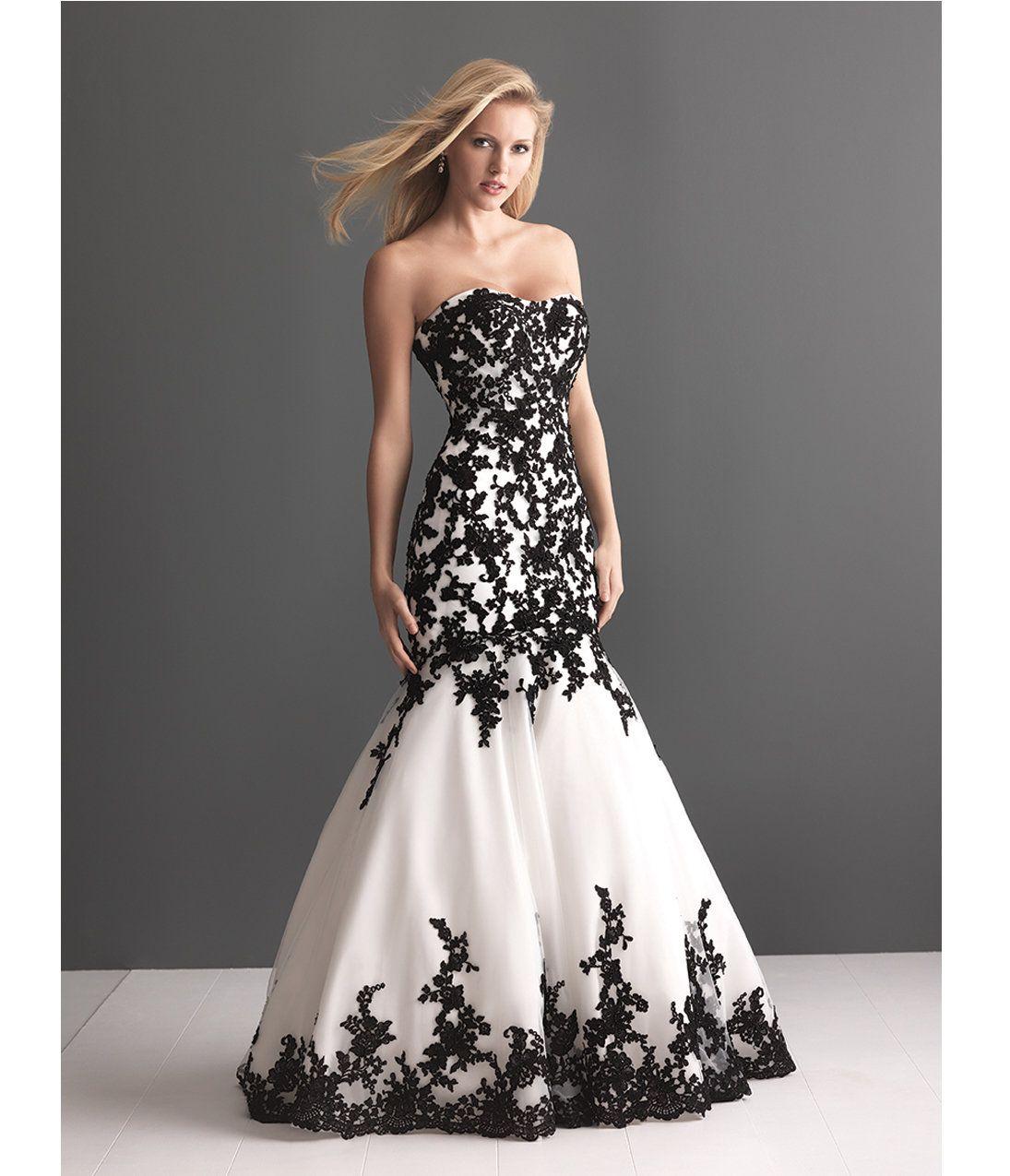 allure bridal white organza u black lace wedding gown