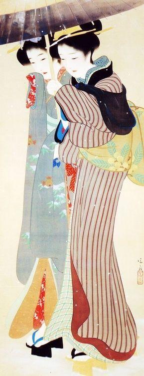 Geisha sotto l'ombrello