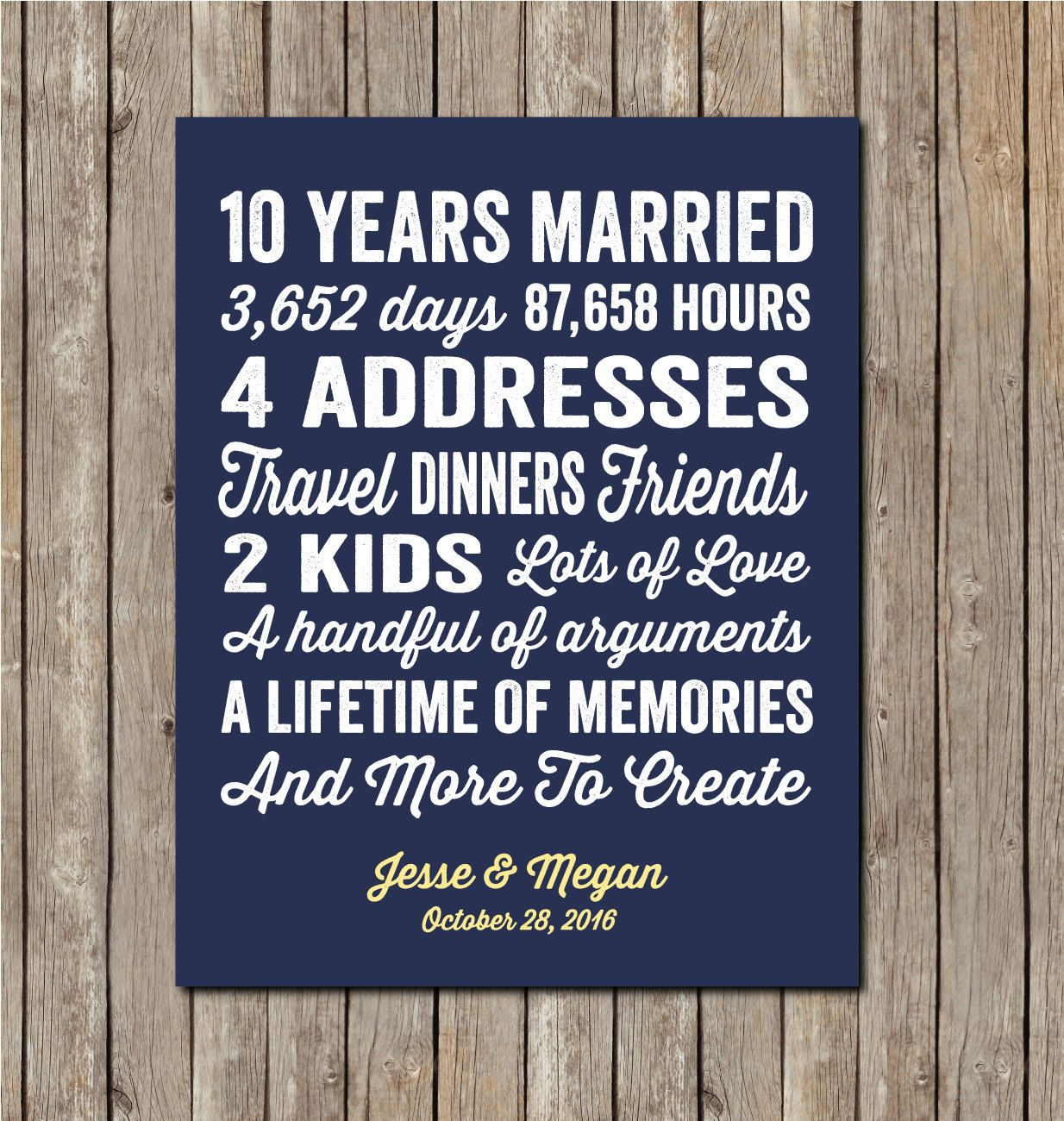 10th Anniversary Gift 10th Wedding Anniversary 10 By Karimachal 10 Year Anniversary Gift 10 Year Anniversary Personalized Wedding Print