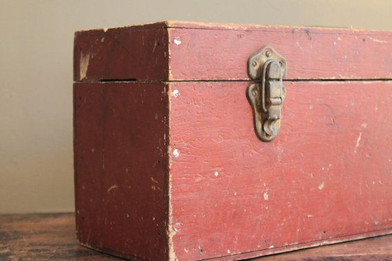 Antique Red Wooden Tool Box by MyVintageLane on Etsy, $45.00