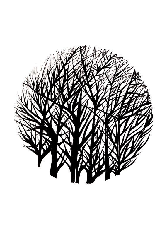 Drzewo reprodukcja original sztuka black and white od thetotegallery