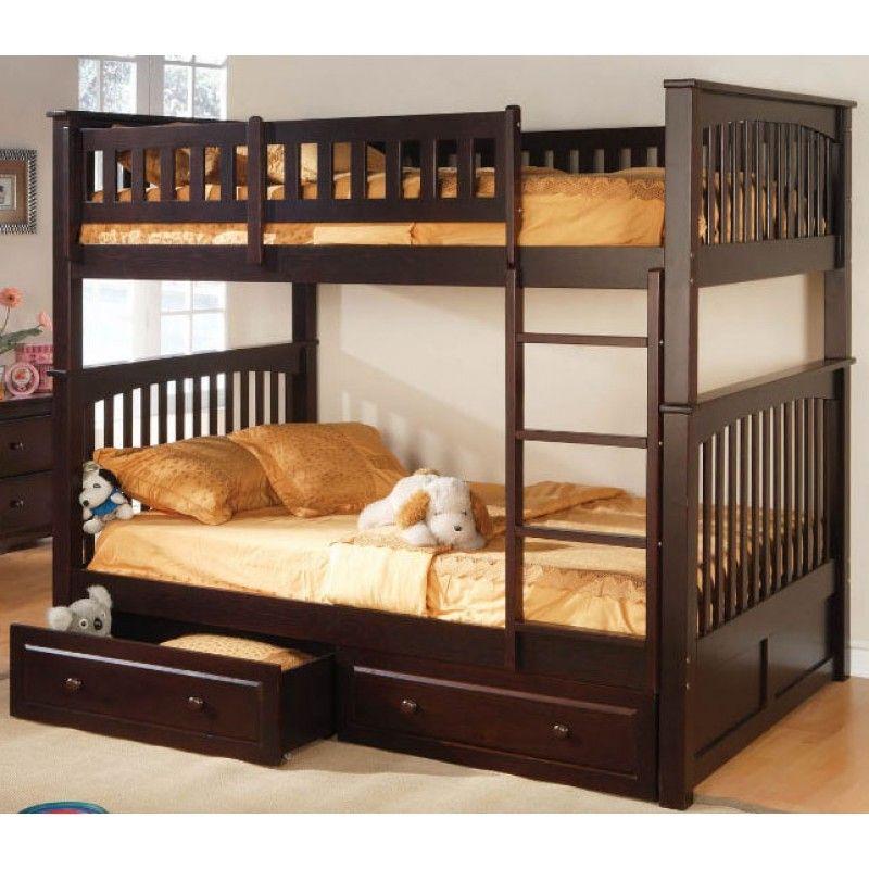 Full Over Full Bunk Bed Espresso Sleeping Room Pinterest