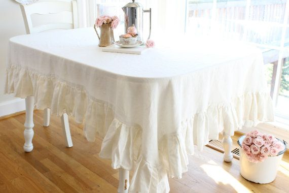 White Ruffle Tablecloth | Ruffled Linen Tablecloth Size 60x84