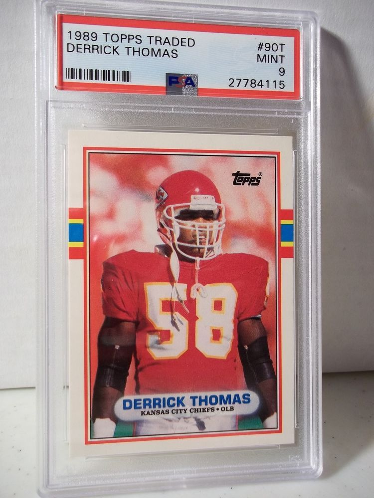 1989 Topps Traded Derrick Thomas Rookie PSA Mint 9