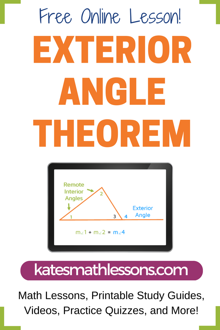 Exterior Angle Theorem Exterior Angles Printable Study Guides Interior And Exterior Angles