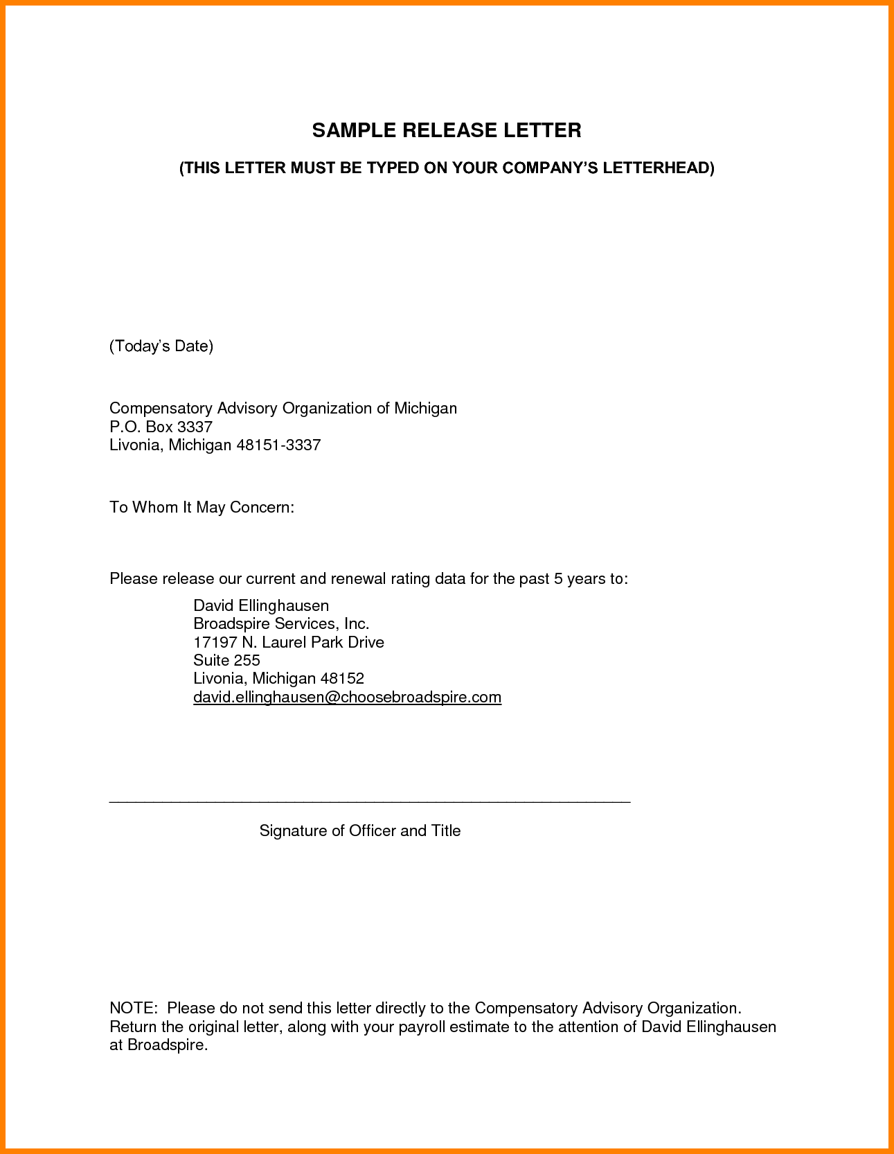 Letter Sample For Claiming Ledger Paper Authorization Collect