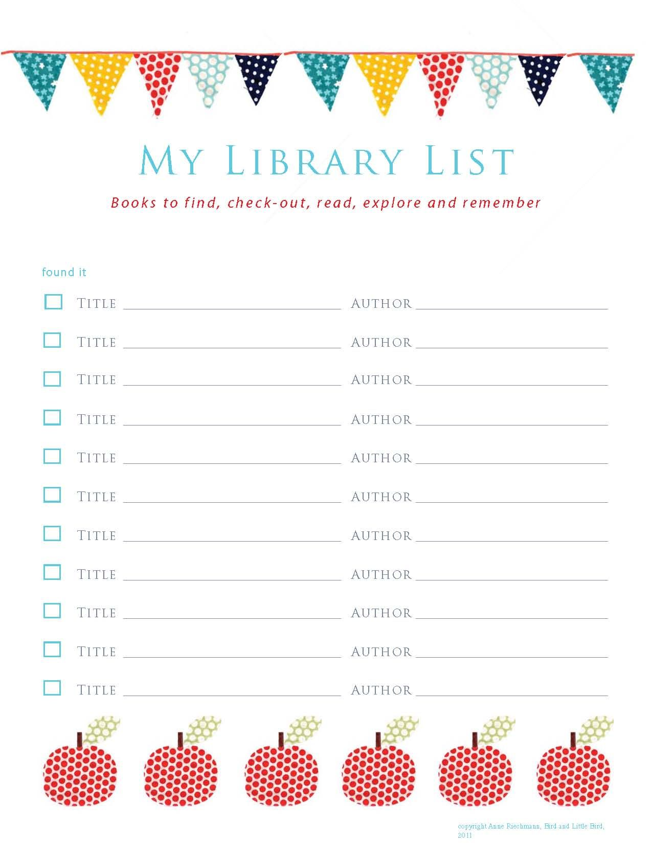 It's just a graphic of Dynamic Book List Printable
