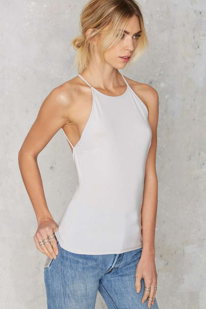 Nasty Gal Back Down Cami Top - Silver - Newly Added | Basics | Tanks | Tops | Tops