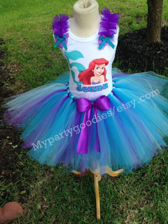Ariel Little Mermaid Pink Turquoise Purple 3rd Birthday Outfit Shirt Tutu FREE Hair Bow Personalized Ariel Baby Toddler Girls Tutu Outfit