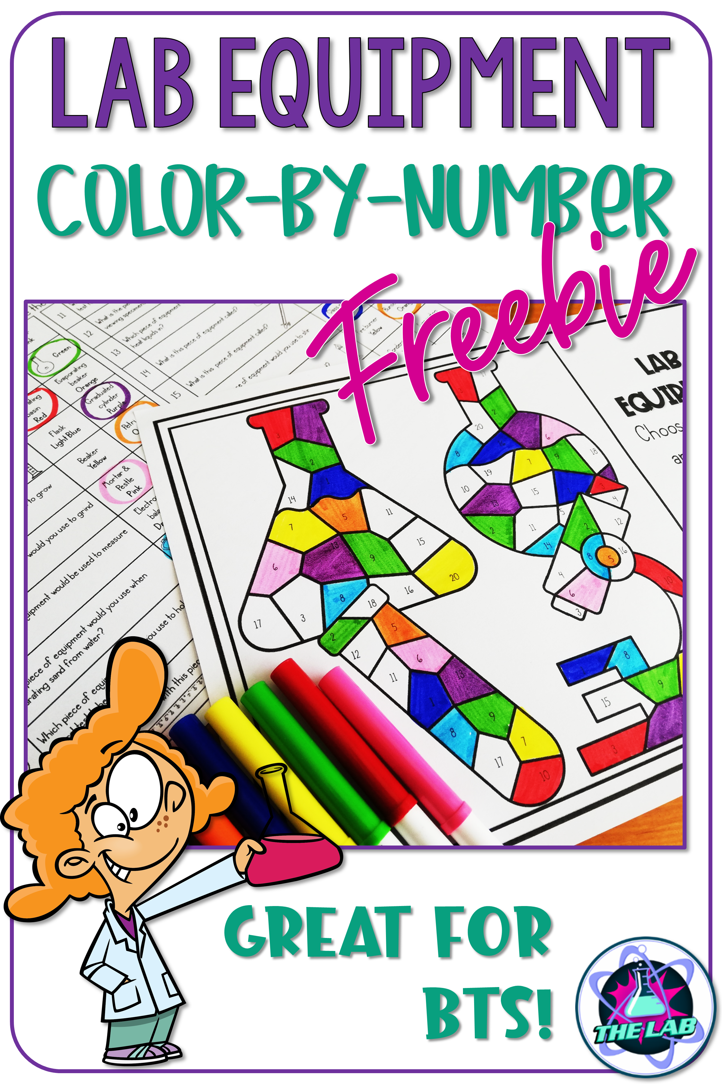 Lab Equipment Science Color By Number Activity Freebie