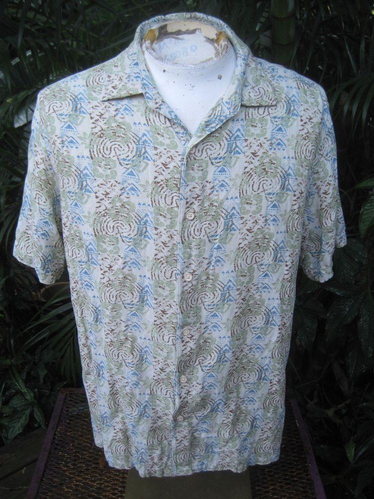 HAWAIIAN Aloha SHIRT XL pit to pit 25 MARGARITAVILLE silk linen abstract geo #Margaritaville #Hawaiian