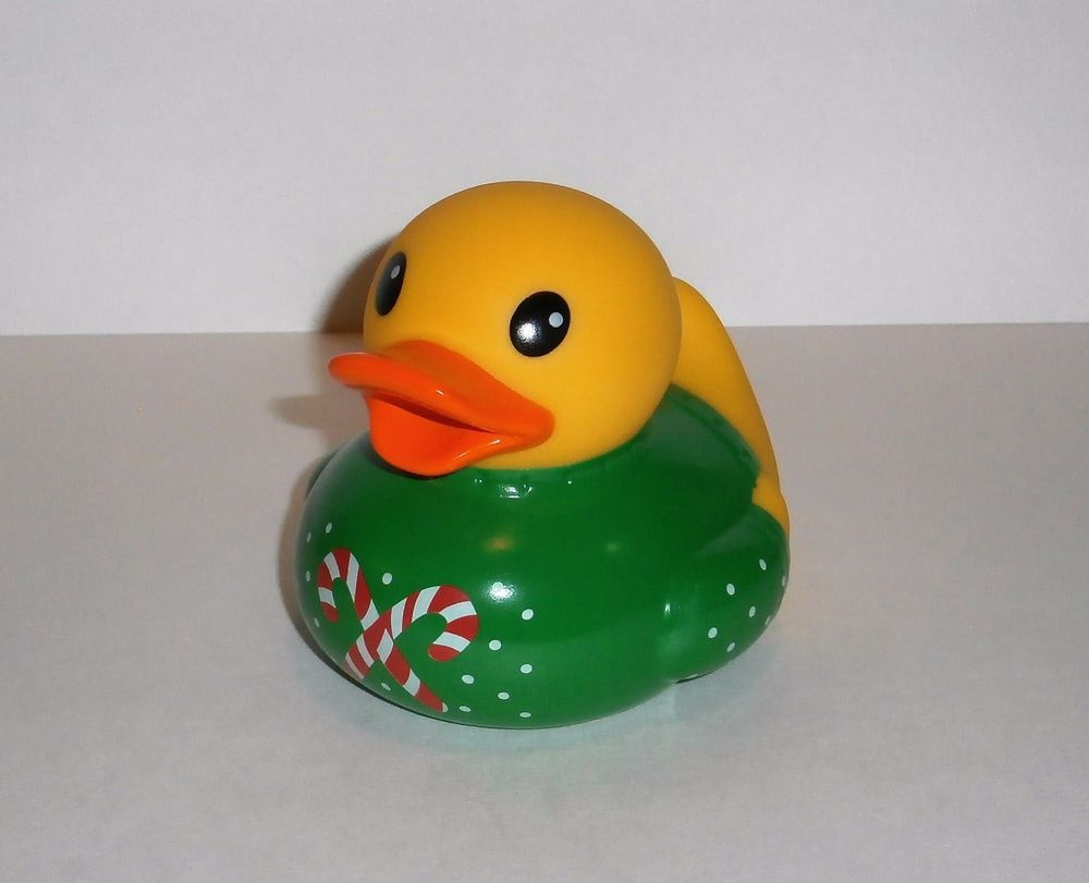 Christmas Candy Cane Sweater Rubber Duck Figure Infantino Yellow ...