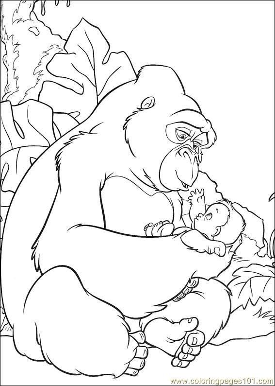 Mama Gorilla And Baby Tarzan Disney Coloring Pages