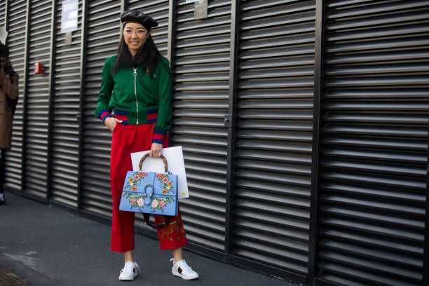 Yuwei Zhangzou wears Gucci outside the Gucci show during Milan Fashion Week Fall/Winter 2017/18 on February 22 2017 in Milan Italy