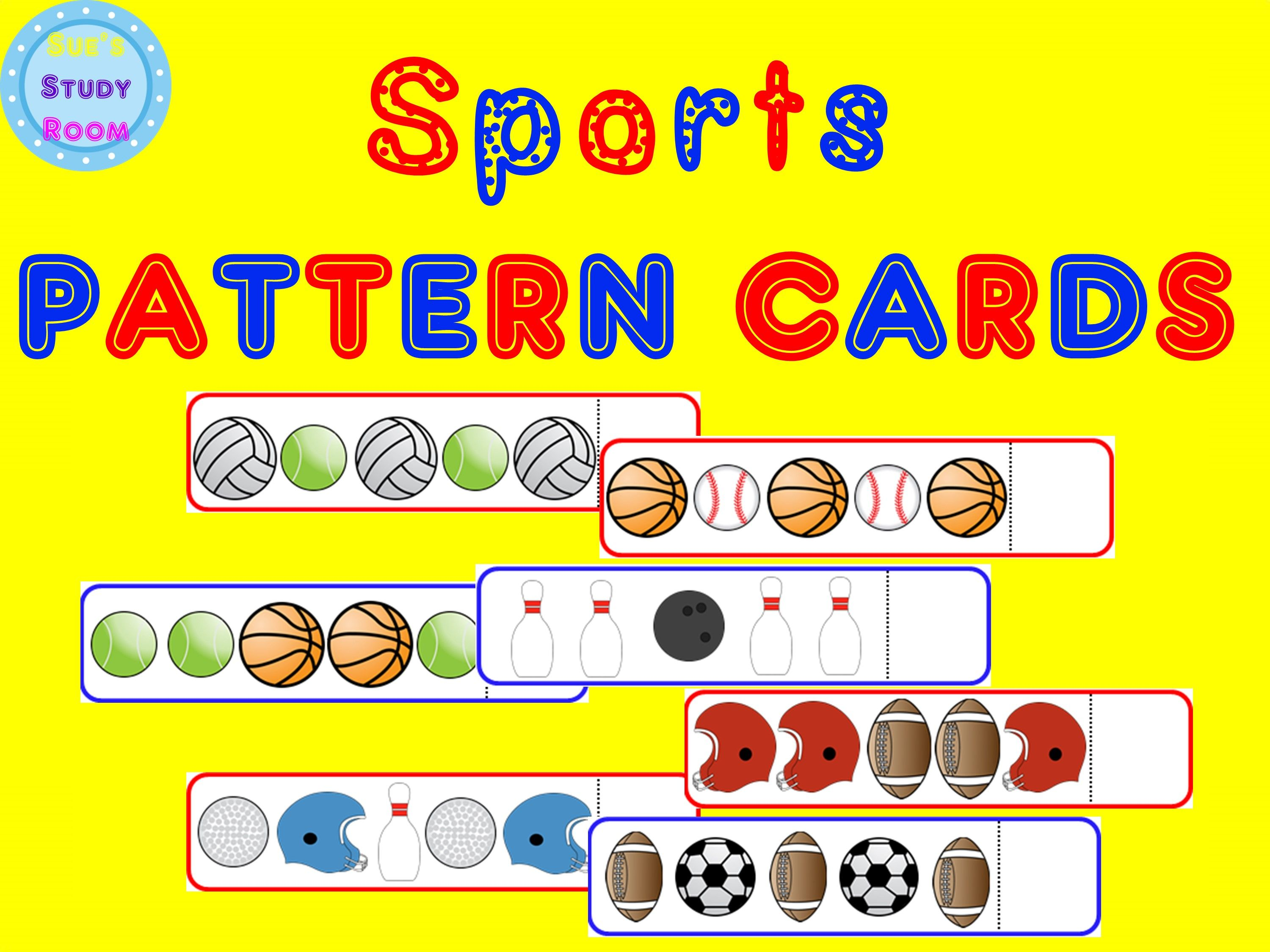 Sports Pattern Cards For Preschool Prek And K