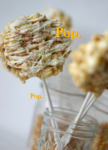{Vanilla Caramel Popcorn Pops} - for Moneyball