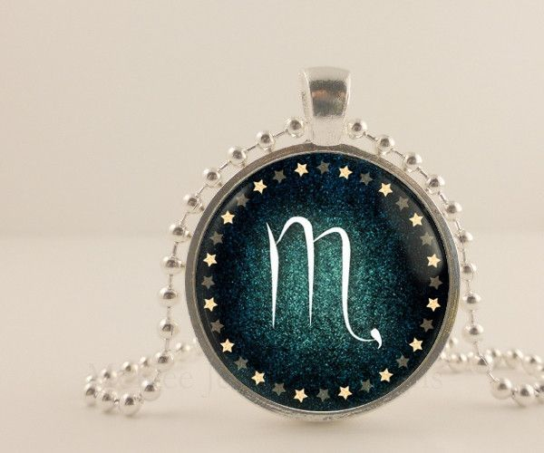 Scorpio birth sign, Zodiac, Astrology glass and metal Pendant necklace Jewelry.