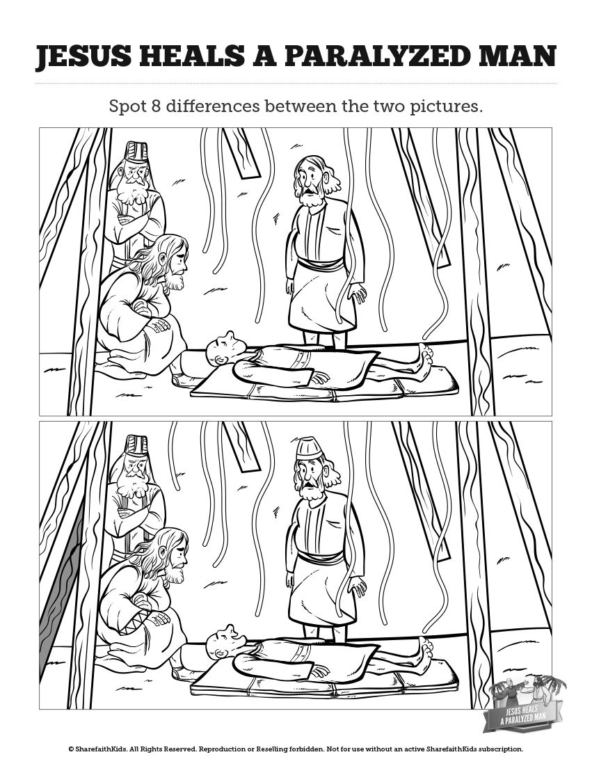 Luke 5 Jesus Heals The Paralytic Kids Spot Difference Can Your All Differences Between These Illustrations