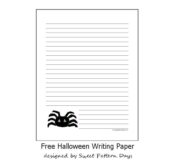 Free Spider Lined Writing Paper  Halloween Printables