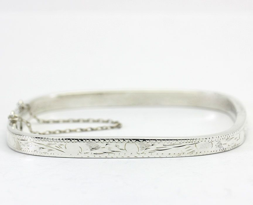 Diamond-Cut Square Hinged Bangle Bracelet in Sterling Silver  #Chain
