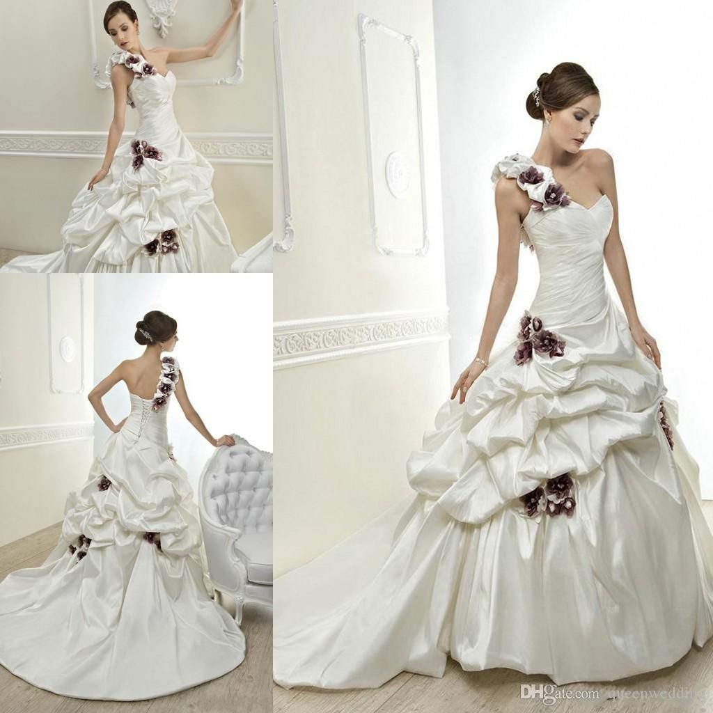eec401b8351 2014 Vintage New Grap Flowers One Shoulder Long Bridal Dress Satin Ruffled Pick  Up Ball Gown