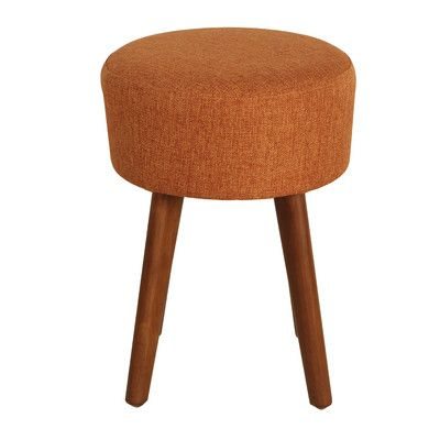 Porthos Home Wallace Upholstered Stool Color: Orange
